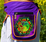 Beltbag Milk Hill fractal - 7 pockets, strong ziplocks, size adjustable with hook & loop and clip - blacklight active lines flower of life