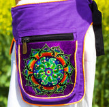 Beltbag Ticombe crop circle - 7 pockets, strong ziplocks, size adjustable with hook & loop and clip - blacklight active lines flower of life