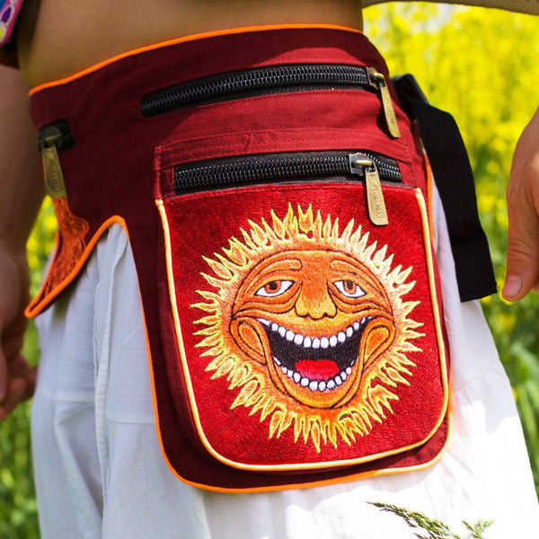 Beltbag Sunshine Happy - 7 pockets, strong ziplocks, size adjustable with hook & loop and clip - blacklight active lines hippie waistbag