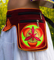Beltbag Golden Purpur flower - 7 pockets, strong ziplocks, size adjustable with hook & loop and clip - blacklight active lines good luck