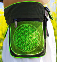 Beltbag green Flower of Life- 7 pockets strong ziplocks size adjustable with hook & loop and clip - blacklight active holy geometry