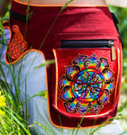 Beltbag Consciousness Eyes - 7 pockets, strong ziplocks, size adjustable with hook & loop and clip - blacklight active lines flower of life