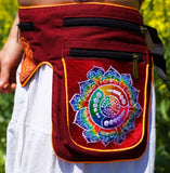 Beltbag Fractal Attributes - 7 pockets, strong ziplocks, size adjustable with hook & loop and clip - blacklight active lines crop circle