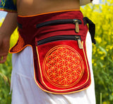 Beltbag red Flower of Life - 7 pockets strong ziplocks size adjustable with hook & loop and clip - blacklight active holy geometry