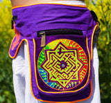 Beltbag fractal labyrinth - 7 pockets, strong ziplocks, size adjustable with hook & loop and clip - blacklight active lines flower of life