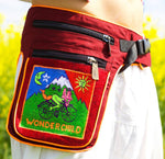 Beltbag LSD wonderchild - 7 pockets, strong ziplocks, size adjustable with hook & loop and clip - blacklight active lines flower of life