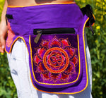 Beltbag Purple Aum - 7 pockets, strong ziplocks, size adjustable with hook & loop and clip - blacklight active lines flower of life