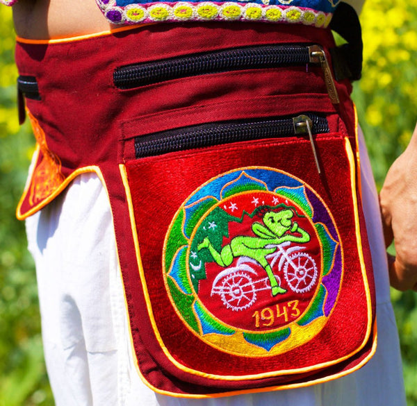 Beltbag Hofmann Mandala - 7 pockets, strong ziplocks, size adjustable with hook & loop and clip - blacklight active lines flower of life