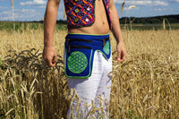 Beltbag Mushroom Illuminati - 7 pockets, strong ziplocks, size adjustable with hook & loop and clip - blacklight active lines flower of life