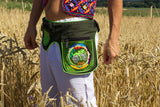 Beltbag hofmann mandala - 7 pockets strong ziplocks size adjustable with hook & loop and clip - blacklight active cosmic music goatrance