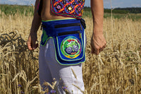 Beltbag hofmann mandala - 7 pockets, strong ziplocks, size adjustable -- hook & loop and clip - blacklight active lines flower of life