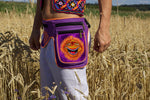 Beltbag Sunshine Happy - 7 pockets, strong ziplocks, size adjustable - hook & loop and clip - blacklight active lines flower of life