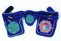 Beltbag Fractal Attributes - 7 pockets, strong ziplocks, size adjustable with hook & loop and clip - blacklight active lines flower of life
