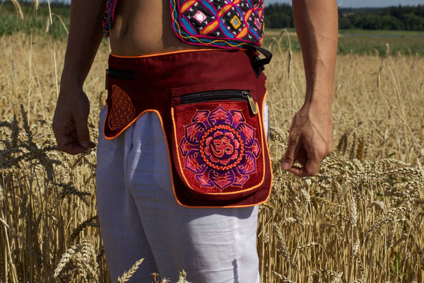 Beltbag red purple AUM mandala - 7 pockets, strong ziplocks, size adjustable with hook & loop and clip - blacklight active lines good luck