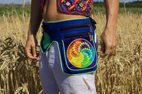 Beltbag Fractal crop circle - 7 pockets, strong ziplocks, size adjustable - hook & loop and clip - blacklight active lines flower of life