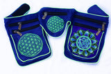 Beltbag blue AUM mandala - 7 pockets, strong ziplocks, size adjustable with hook & loop and clip - blacklight active lines flower of life