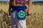 Beltbag hyperspace object - 7 pockets, strong ziplocks, size adjustable - hook & loop and clip - blacklight active lines flower of life
