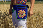 Beltbag Huichol Sunmask - 7 pockets, strong ziplocks, size adjustable with hook & loop and clip - blacklight active lines flower of life