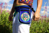 Beltbag blue Hofmann 2012 - 7 pockets, strong ziplocks, size adjustable with hook & loop and clip - blacklight active lines flower of life