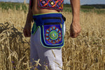 Beltbag Mushroom Pac Man - 7 pockets, strong ziplocks, size adjustable with hook & loop and clip - blacklight active lines flower of life