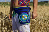 Beltbag Golden Blue flower - 7 pockets, strong ziplocks, size adjustable - hook & loop and clip - blacklight active lines flower of life
