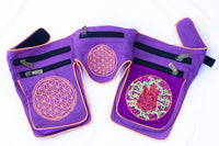 Beltbag Ganeshahuasca purple - 7 pockets, strong ziplocks, size adjustable -- hook & loop and clip - blacklight active lines flower of life