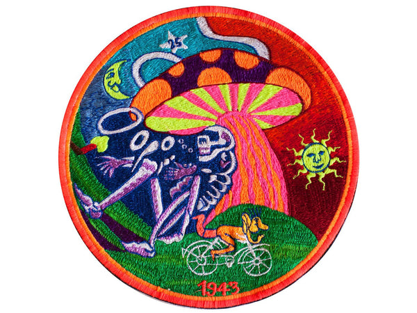 Grateful Dead Bicycle Day Magic Mushroom UV blacklight Patch LSD psychedelic skeleton
