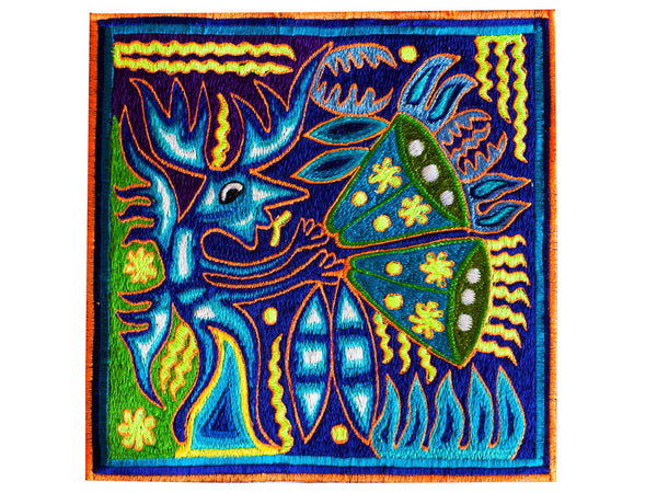 Peyote Spirit Shaman - original indigene mexican Huichol artwork