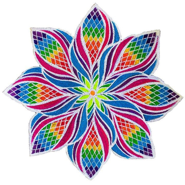 Beautiful Rainbow Flower Mandala - 7 inch embroidery patch