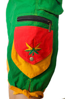 Rasta Cannabis Pant - 8 pockets, 4 with hock&loop, 2 with clip - any size available marihuana leave clamdiggers made after order