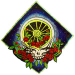 Grateful Dead Rose Patch psychedelic flower deadhead embroidery UV blacklight active