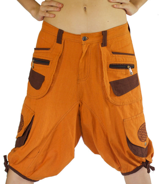 Flower of Life Hippie Pant - 8 pockets, 4 with hock&loop, 2 with clip - any size available clamdiggers made after order
