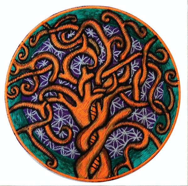 Tree of Life 6 inch / 15 cm handmade embroidery Flower of Life Patch