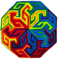 Rainbow Swastica Mandala - psychedelic 7 inch embroidery patch