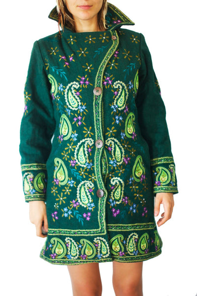 flower power coat psychedelic completely handmade no print green