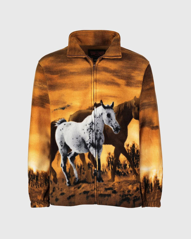 Full-Zip Fleece Animal Sweatshirt - Wild Horses