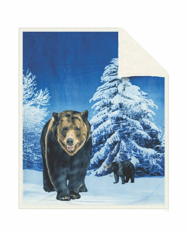 Reversible Snug Animal Blanket - Grizzly Bear
