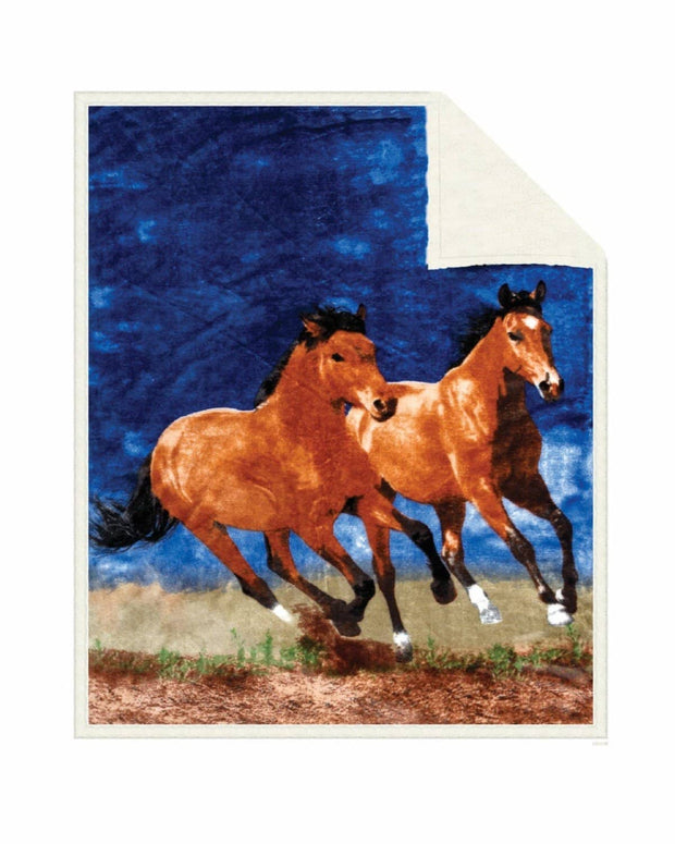 Reversible Snug Animal Blanket - Sunset Horses - Wildkind