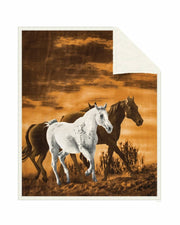 Reversible Snug Animal Blanket - Wild Horses