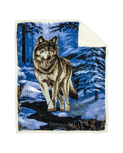 Reversible Snug Animal Blanket - Blue Wolf