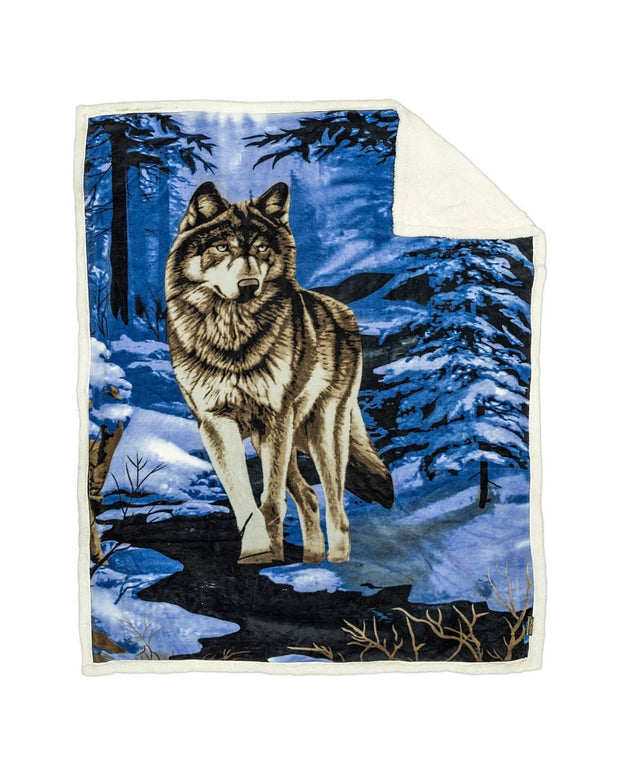 Reversible Snug Animal Blanket - Blue Wolf - Wildkind