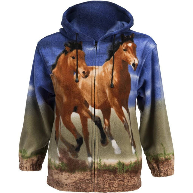 Kids Fleece Animal Hoodie - Sunset Horses