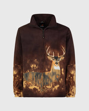 Full-Zip Fleece Animal Sweatshirt - Antler Deer - Wildkind