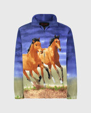 Full-Zip Fleece Animal Sweatshirt - Sunset Horses