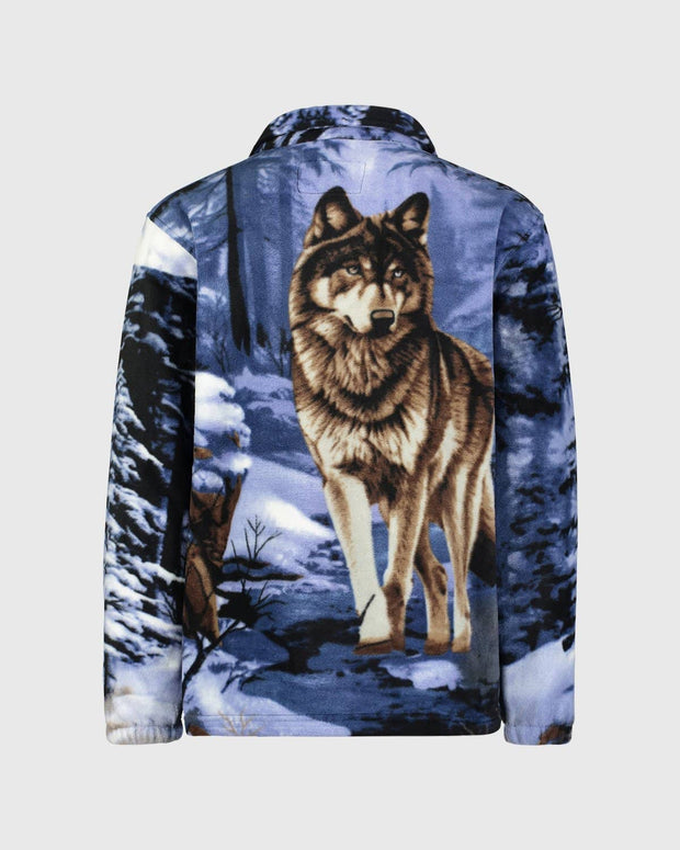 Full-Zip Fleece Animal Sweatshirt - Blue Wolf