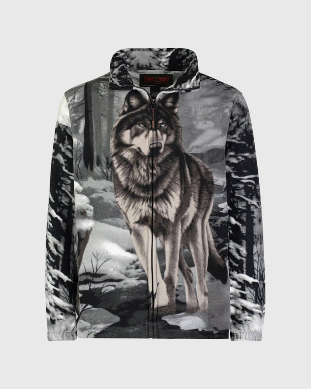 Full-Zip Fleece Animal Sweatshirt - Gray Wolf - Wildkind