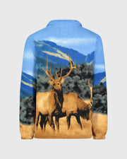 Full-Zip Fleece Animal Sweatshirt - American Elk - Wildkind