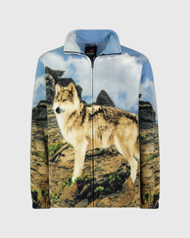 Full-Zip Fleece Animal Sweatshirt - Timber Wolf - Wildkind