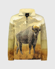 Full-Zip Fleece Animal Sweatshirt - American Bison - Wildkind