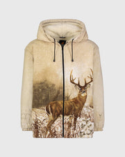 Plush Sherpa Full-Zip Animal Hoodie - Whitetail Deer - Wildkind